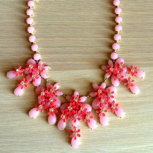 🔥JCrew Sparkly Coral Pink Floral Cascade Necklace